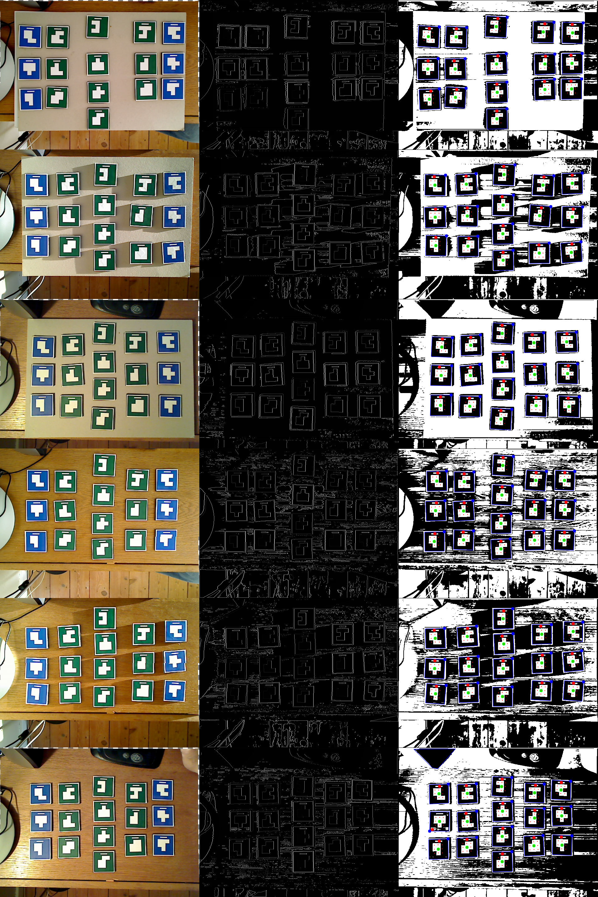 Various lighting scenarios to determine robustness of tag detection algorithm. For each scenario, three pictures are shown. Camera image (with radial distortion compensation), Edge detected image, and the final tag detection result. 1) (Top image) Regular lighting conditions, with backboard. 2) Evening (heavy shadow) lighting, with backboard. 3) Table lamp lighting, with backboard. 4) Regular lighting conditions, no backboard. 5) Evening (heavy shadow) lighting, no backboard. Table lamp lighting, no backboard.