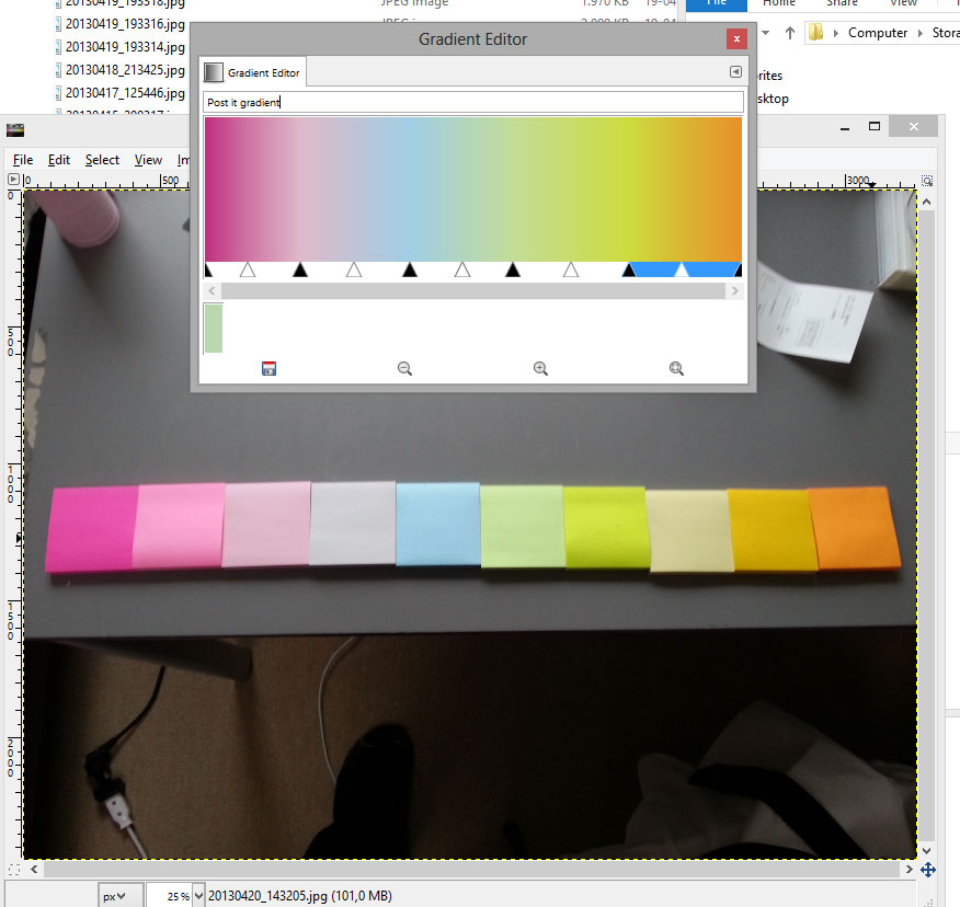 A screenshot of Gimp and the custom gradient I created in order to alter any photo my psychedelic color range.