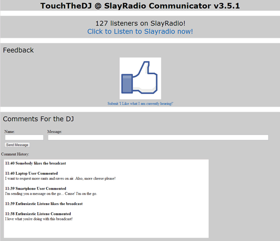 A screen-shot of the audience (web-based) interface used in the four two-hour live shows (shown here with mock feedback). The users could actively participate by sending both a discrete 'like' or a comment.